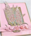 Pink Glads on Kraft detail
