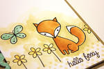Watercolor Hello Foxy Card - detail