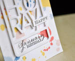 Happy January Birthday Card Detail