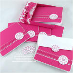 Monogrammed Raspberry Stationery Set, individual pieces