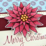 Merry Christmas Poinsettia Card detail