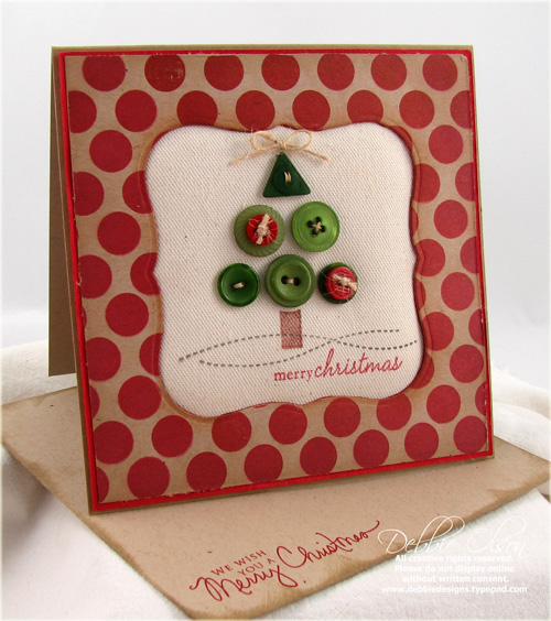 Merry Christmas Button Tree Card