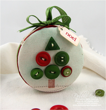 Merry Christmas Button Tree Ornament